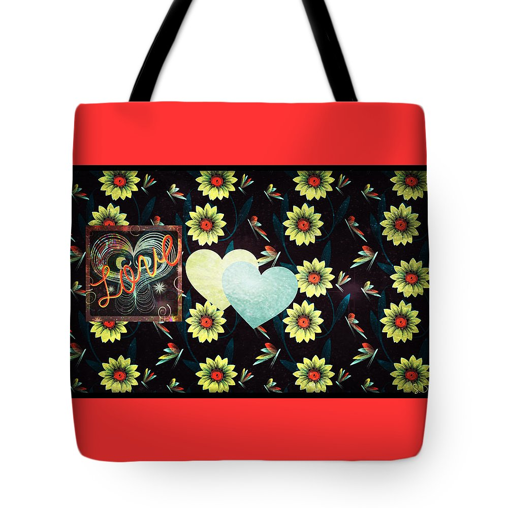 Love; Crush; Romance; Valentines; Valentine; Valentines Day; Holiday; Floral; Flowers; Heart; Hearts; Fairies; Garden; Nature Tote Bag featuring the digital art Twitterpated by Sherry Flaker