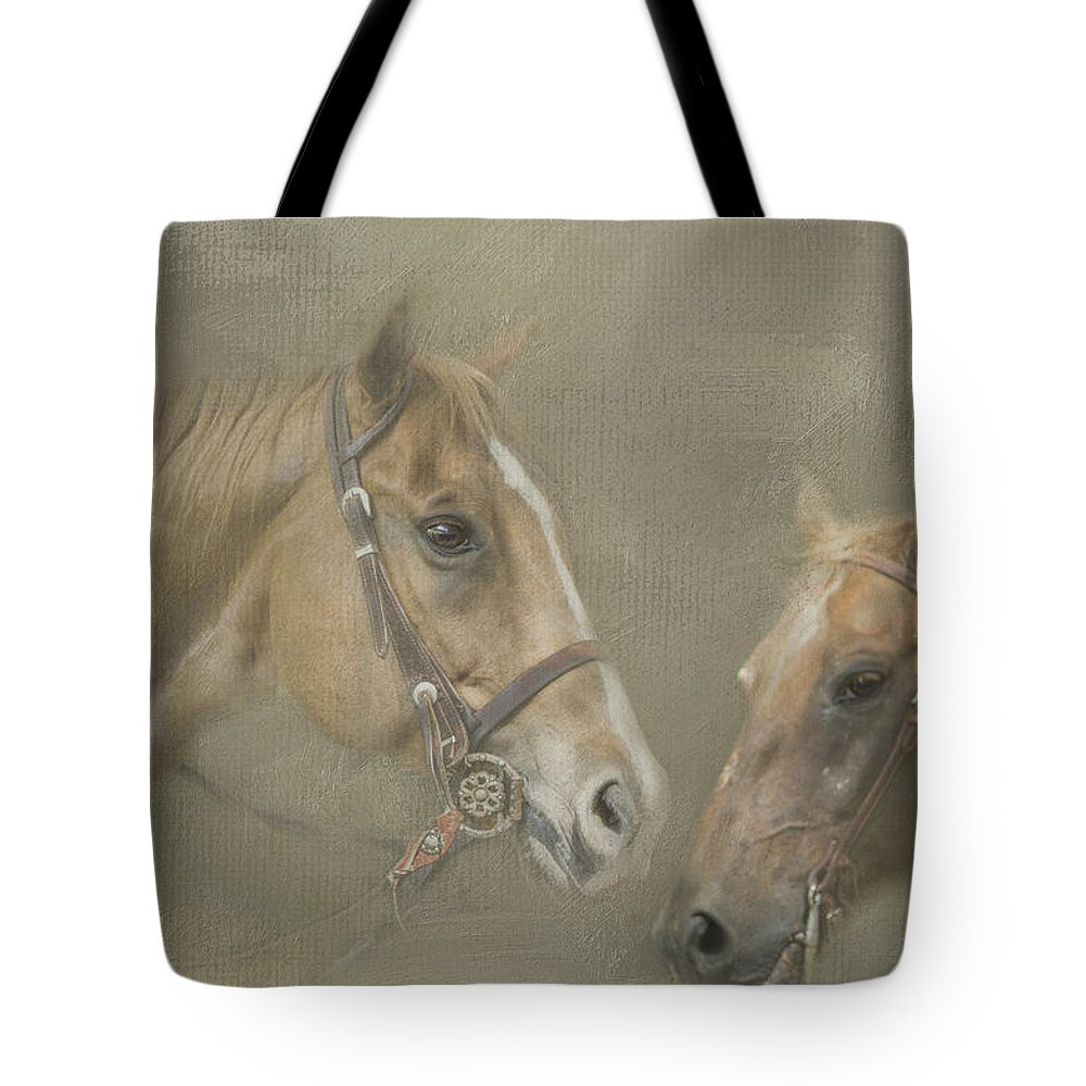 Horse Tote Bag featuring the digital art Two Amigos by Linda Blair
