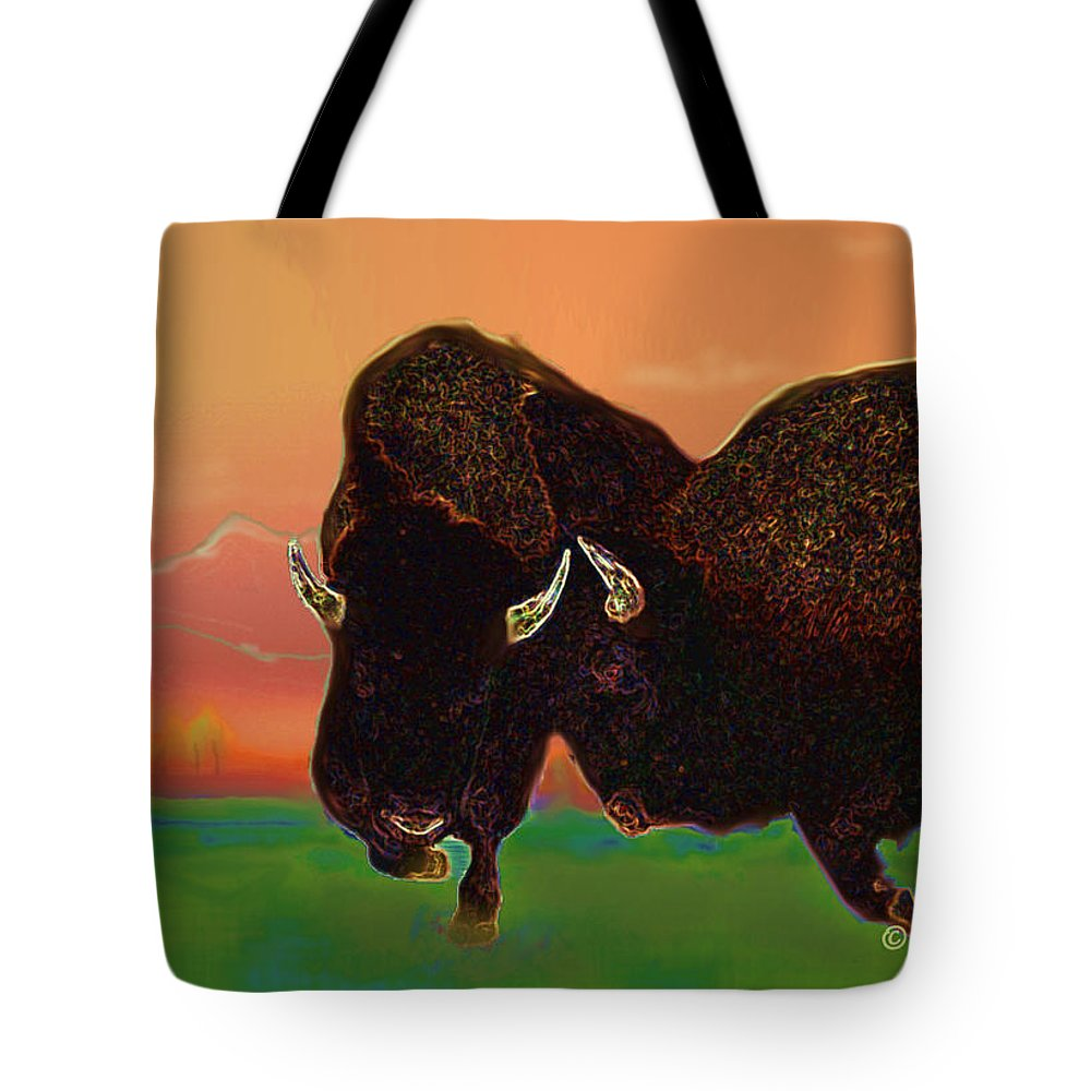 American Bison.wildlife Tote Bag featuring the digital art Two Bison by Kae Cheatham