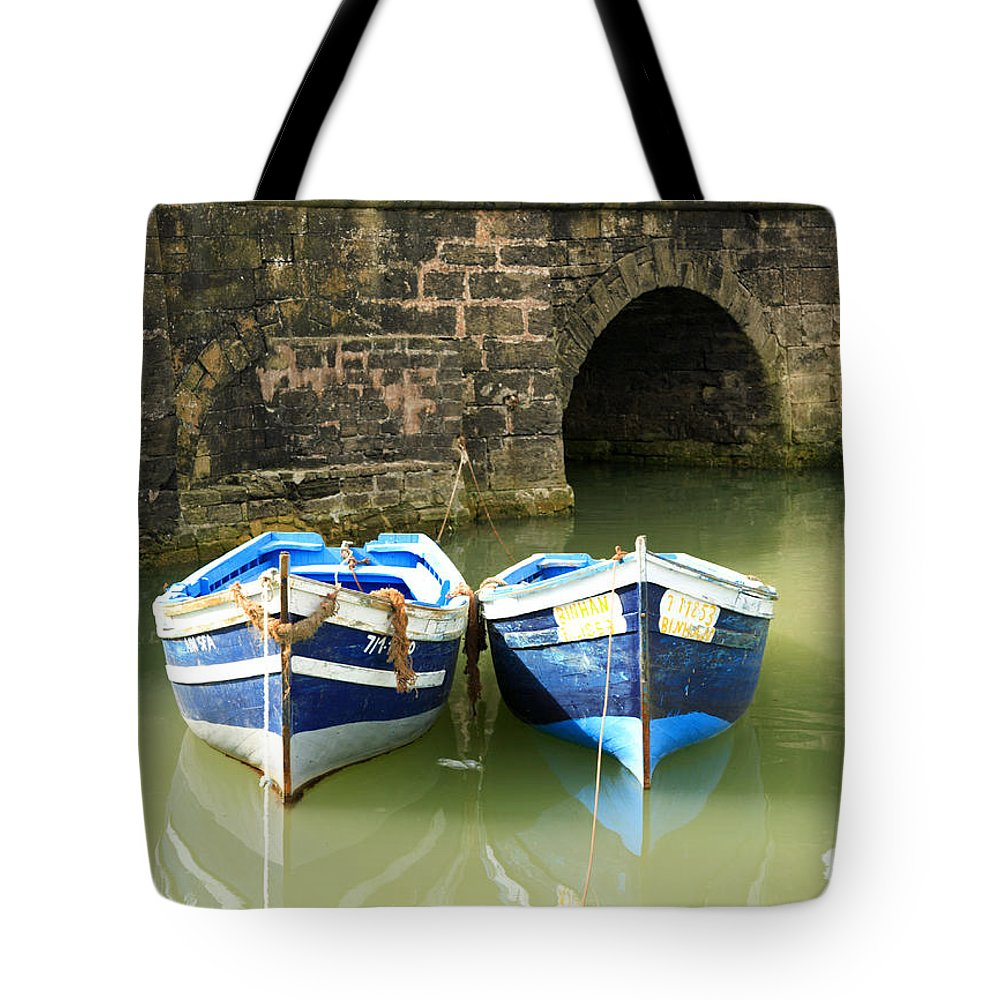 Africa Tote Bag featuring the photograph Two Blue Fishing Boats by Deborah Benbrook