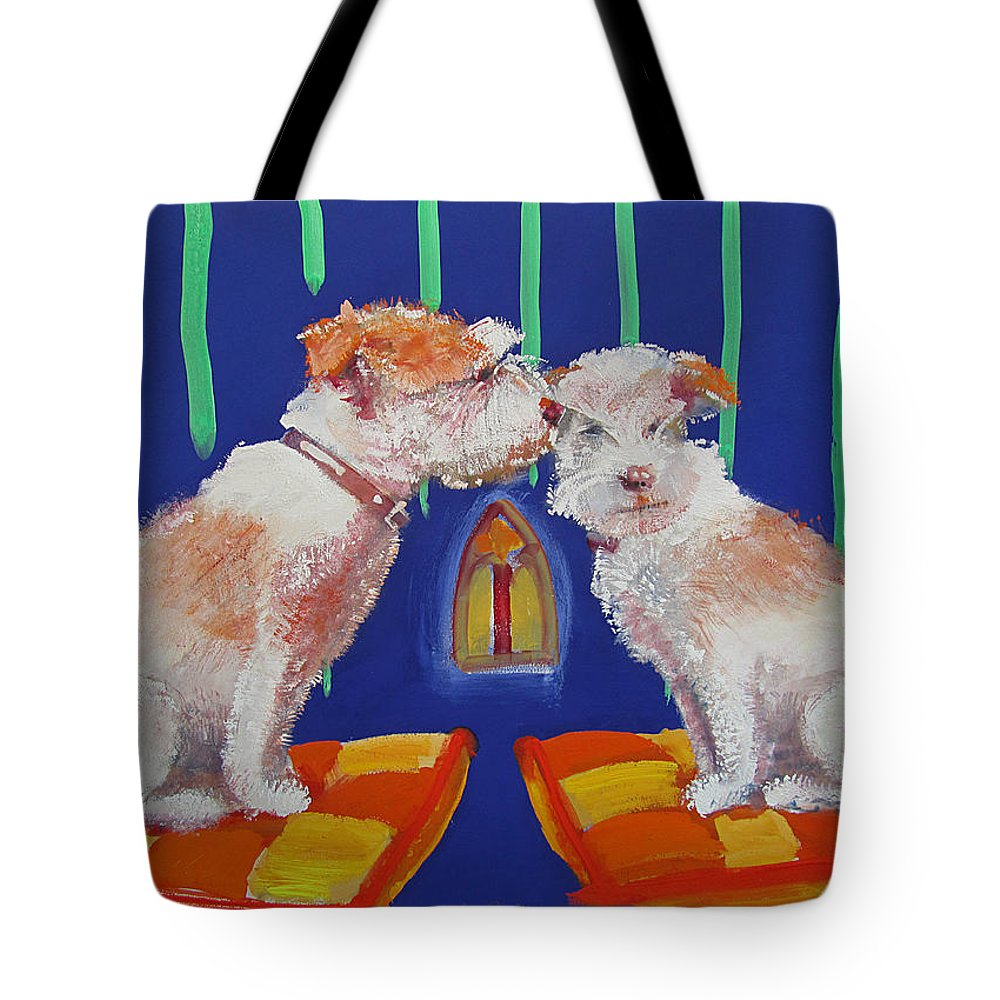 Puppy Tote Bag featuring the painting Two Border Terriers Together by Charles Stuart