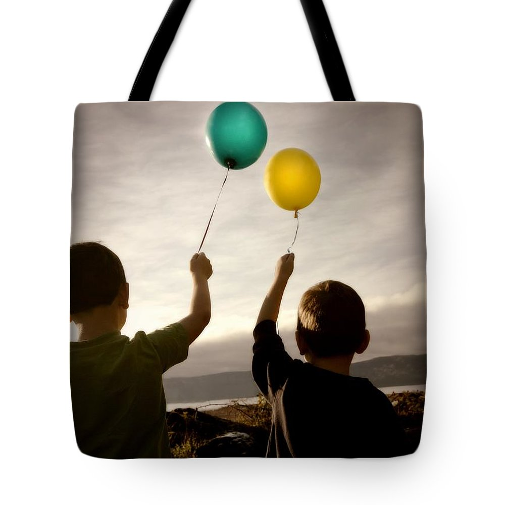 Future Tote Bag featuring the photograph Two Children With Balloons by Con Tanasiuk
