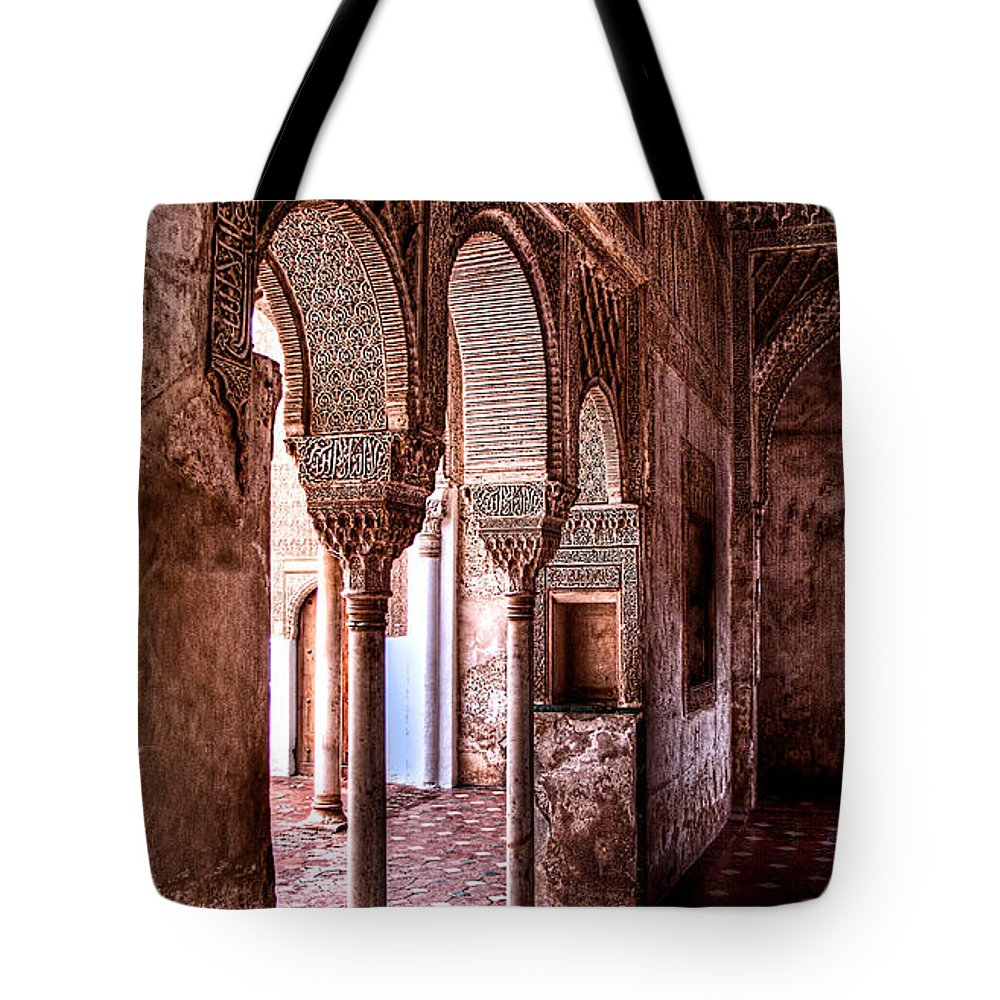 Alhambra Tote Bag featuring the photograph Two Columns by Weston Westmoreland