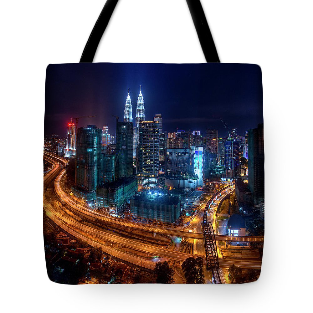 Outdoors Tote Bag featuring the photograph Two Direction In Klcc by Rithauddin Photographer