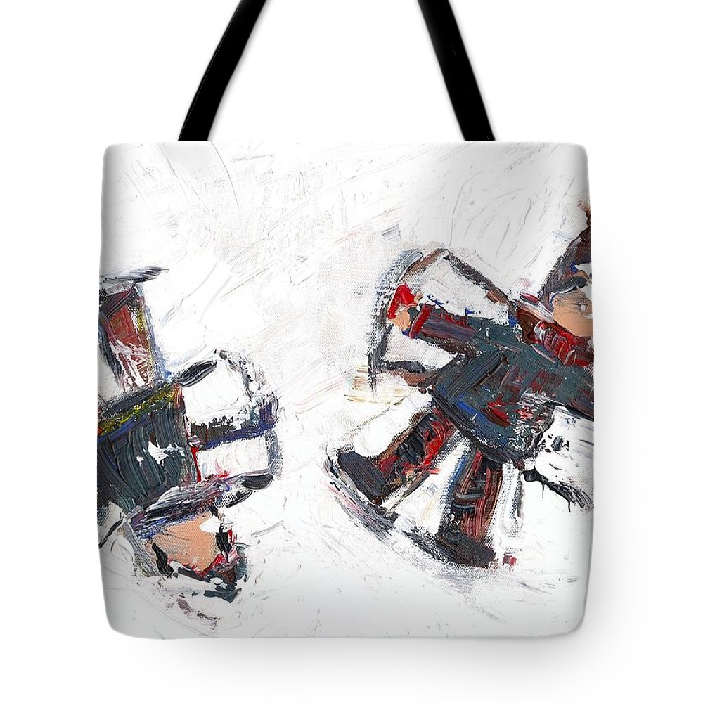 Friends Tote Bag featuring the painting Two Friends In The Snow by David Dossett