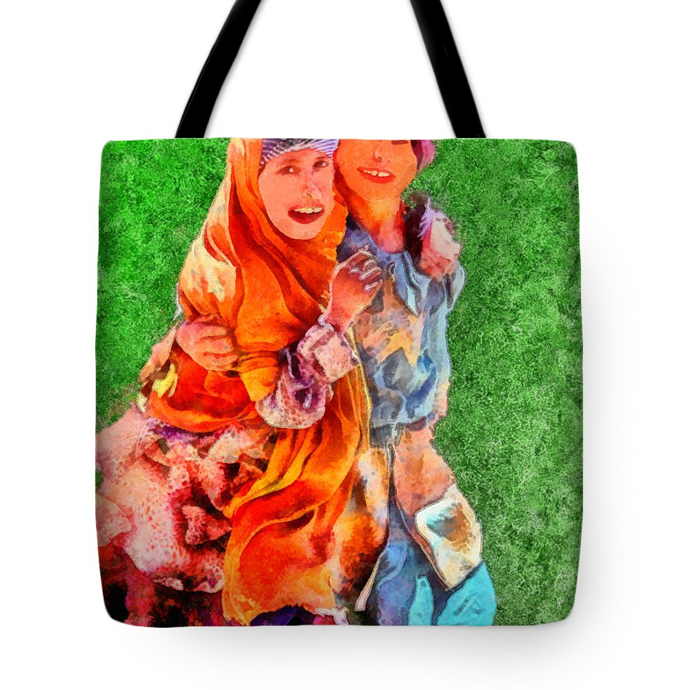 Rossidis Tote Bag featuring the painting Two Girls by George Rossidis