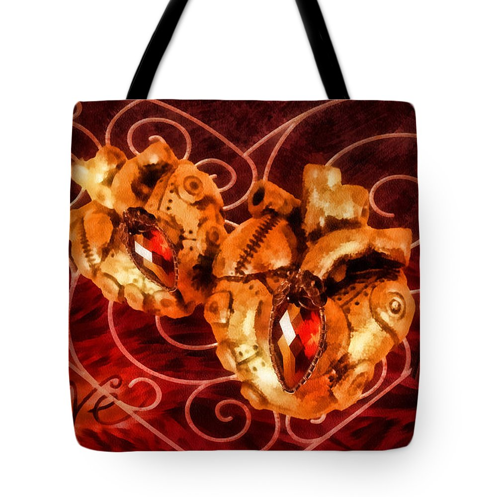 Steampunk Valentine Tote Bag featuring the painting Two Hearts by Mo T