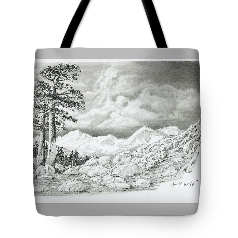 High Sierra Tote Bag featuring the drawing Two Junipers - Starr Mountain by Robert Miller