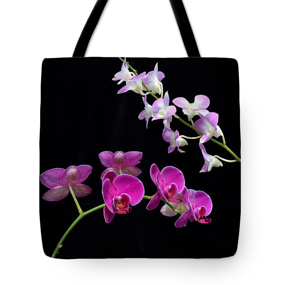 Flower Tote Bag featuring the photograph Two Kind Of Orchid Flower by Antoni Halim
