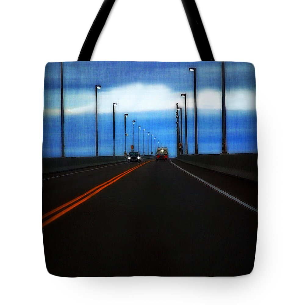 Cars Tote Bag featuring the painting Two-lane Blacktop by RC DeWinter