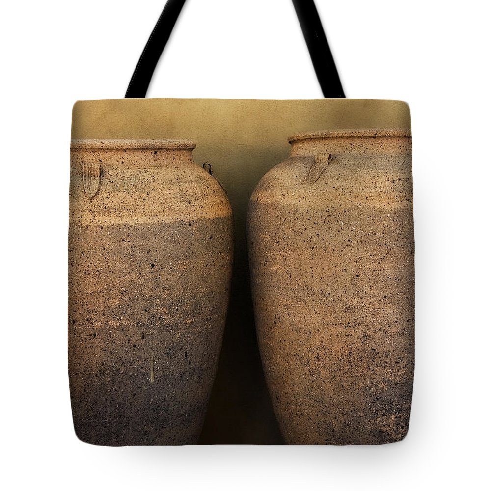 Urn Tote Bag featuring the photograph Two Large Garden Urns by Carol Leigh