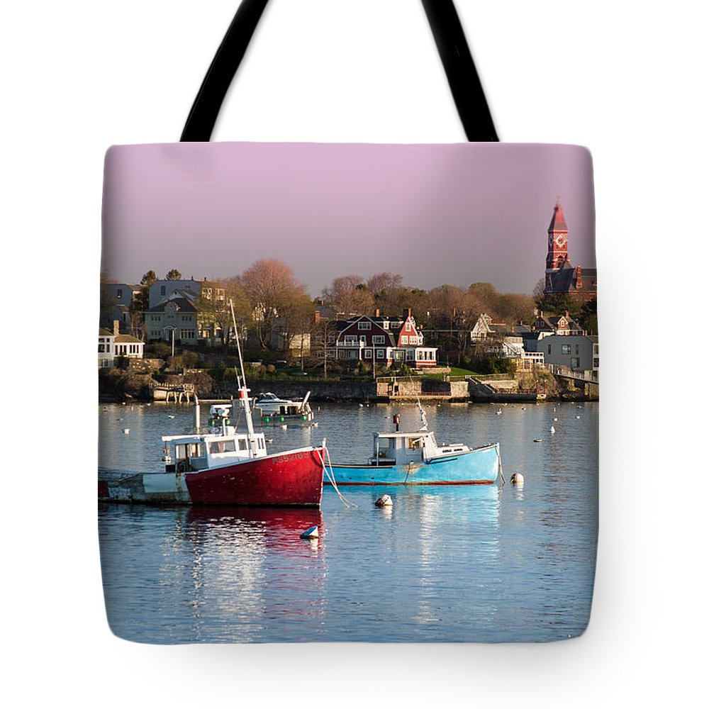 Abott Hall Tote Bag featuring the photograph Two Lobster Boats On Marblehead Harbor With A Red Sky by Jeff Folger
