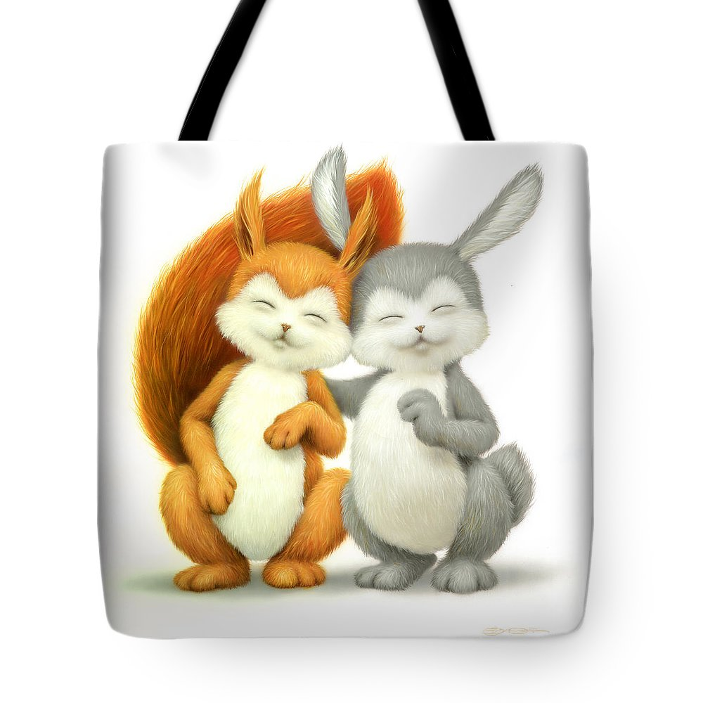 Animal Tote Bag featuring the painting Two Lovely Friends by Eldar Zakirov