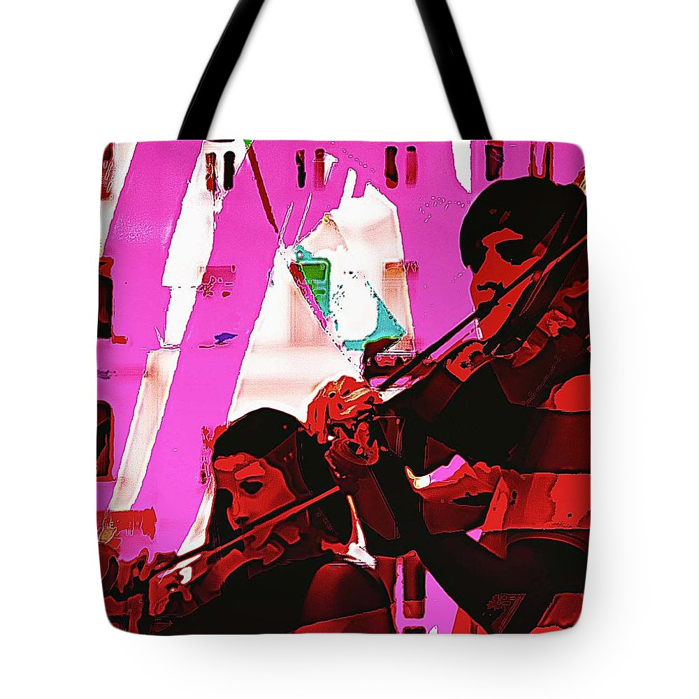 Musicians Tote Bag featuring the digital art Two Musicians by John Hesley
