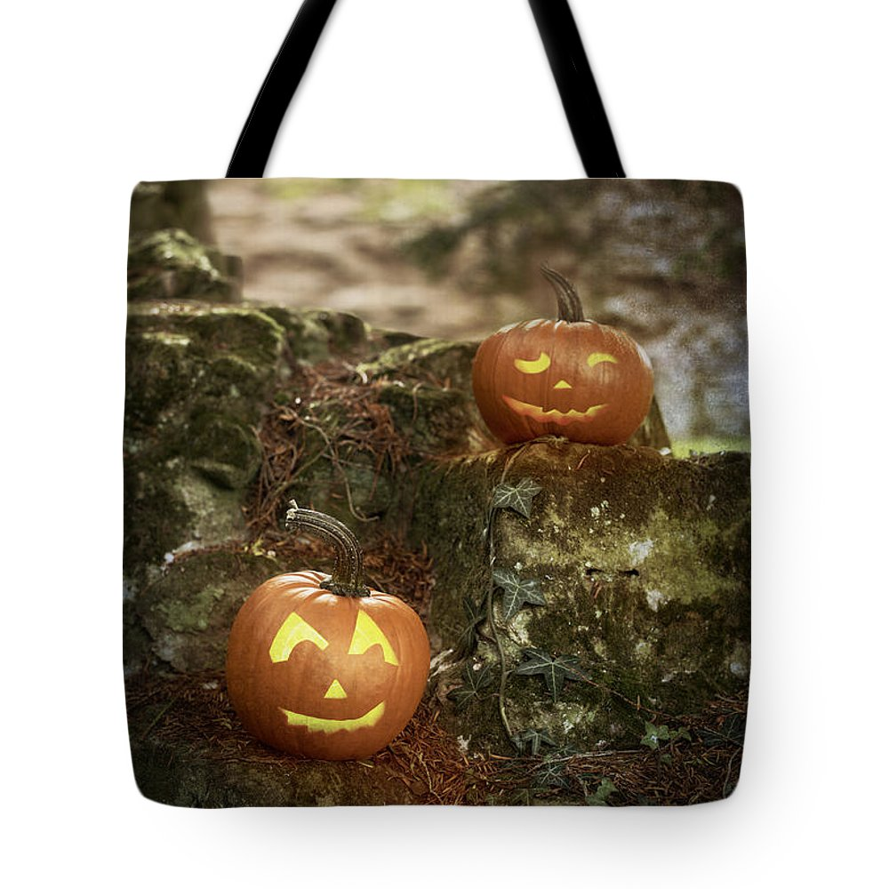 Pumpkin Tote Bag featuring the photograph Two Pumpkins by Amanda Elwell