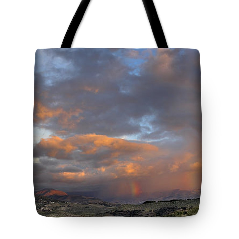 Sunset Tote Bag featuring the photograph Two Rainbows In Sierra Nevada by Guido Montanes Castillo