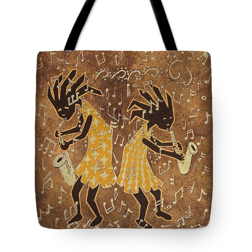 Print Tote Bag featuring the painting Two Sax Players by Katherine Young-Beck