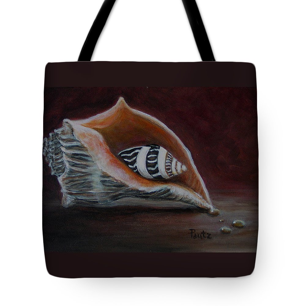 Shells Tote Bag featuring the painting Two Shells by Gay Pautz