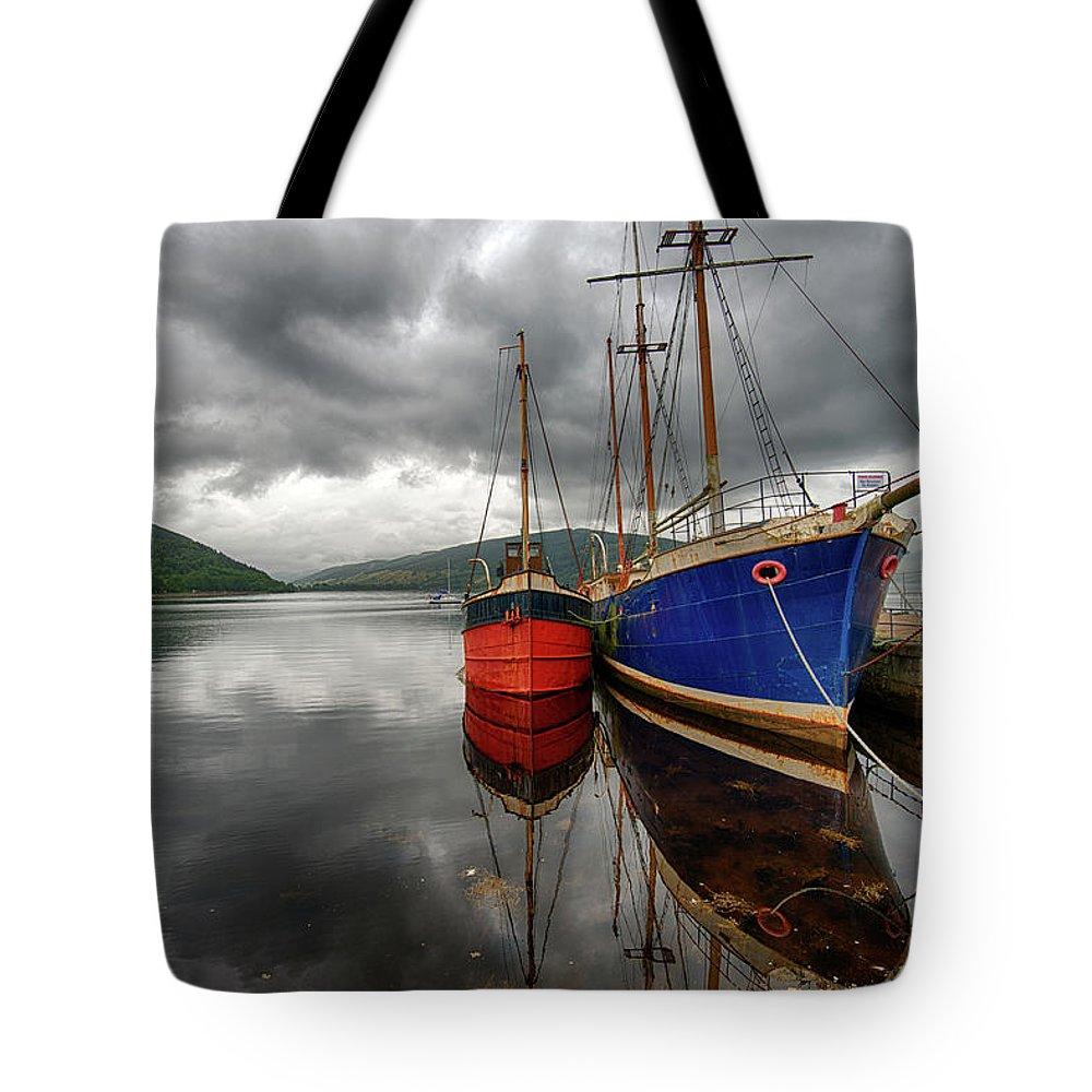 Tranquility Tote Bag featuring the photograph Two Ships At The Cost Of Loch Fyne by Emad Aljumah