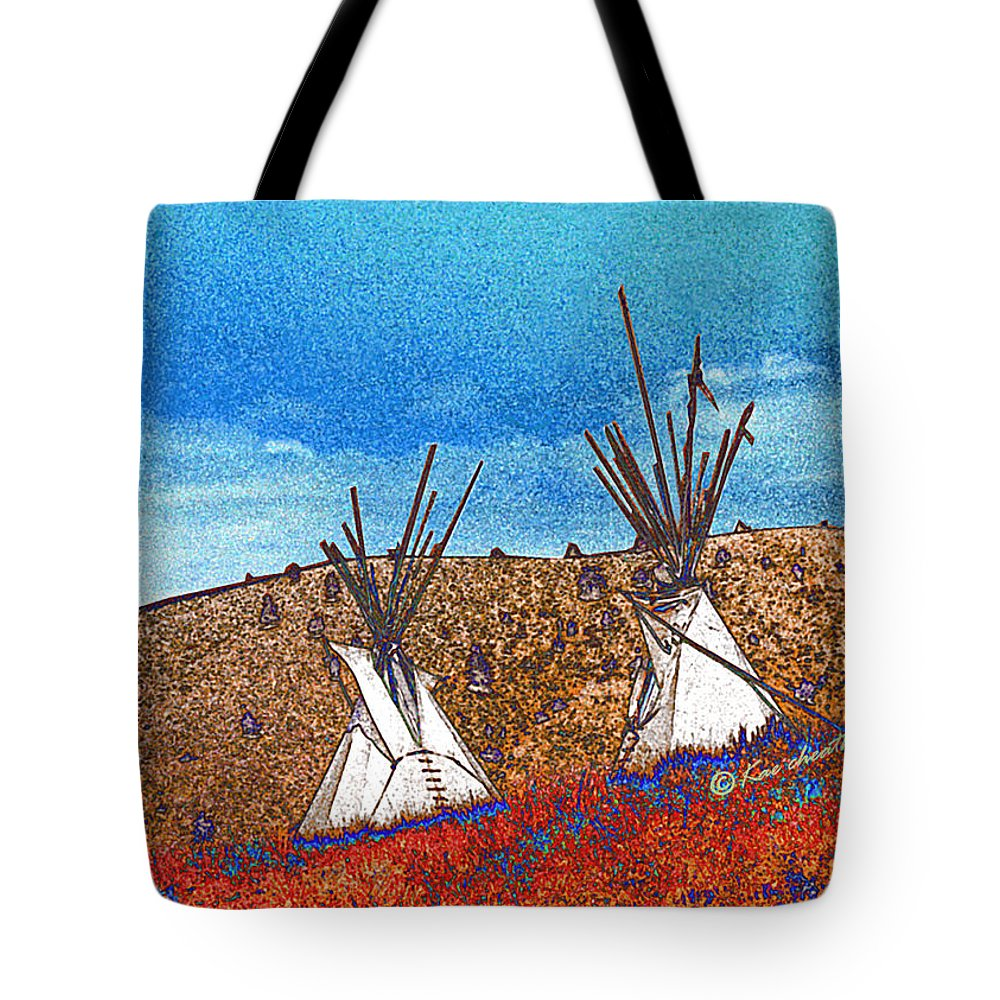 American Indian Tote Bag featuring the digital art Two Teepees by Kae Cheatham