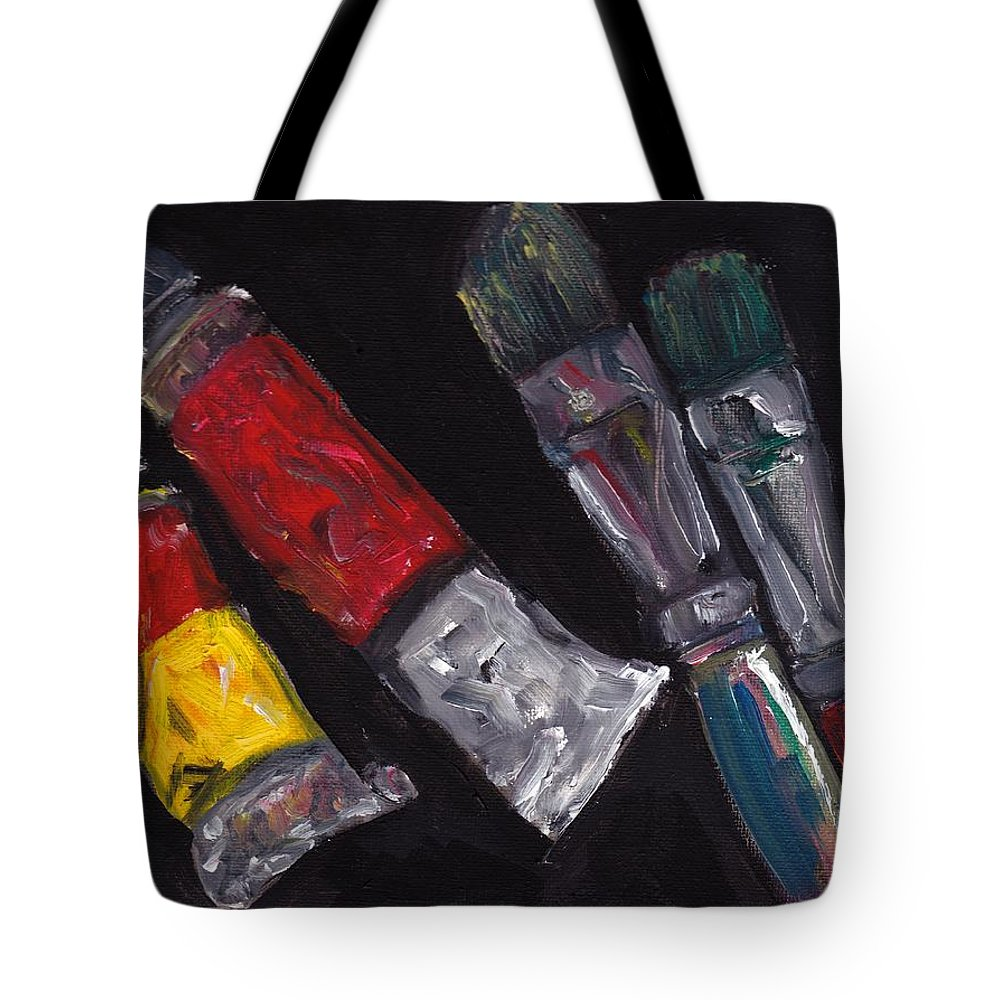 Art Supplies Tote Bag featuring the painting Two Tubes Two Brushes by Julie Galante