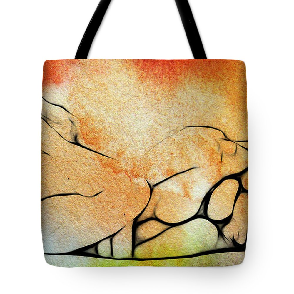 Dark Tote Bag featuring the painting Two Women 2 by Steve K