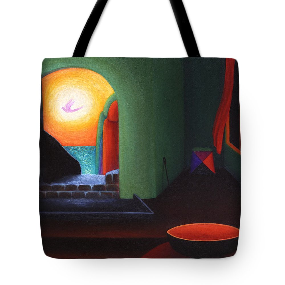 Two Worlds Tote Bag featuring the painting Two Worlds by Judith Chantler