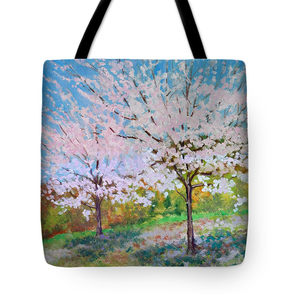 Landscape Tote Bag featuring the painting Two Yoshinos by Keith Burgess