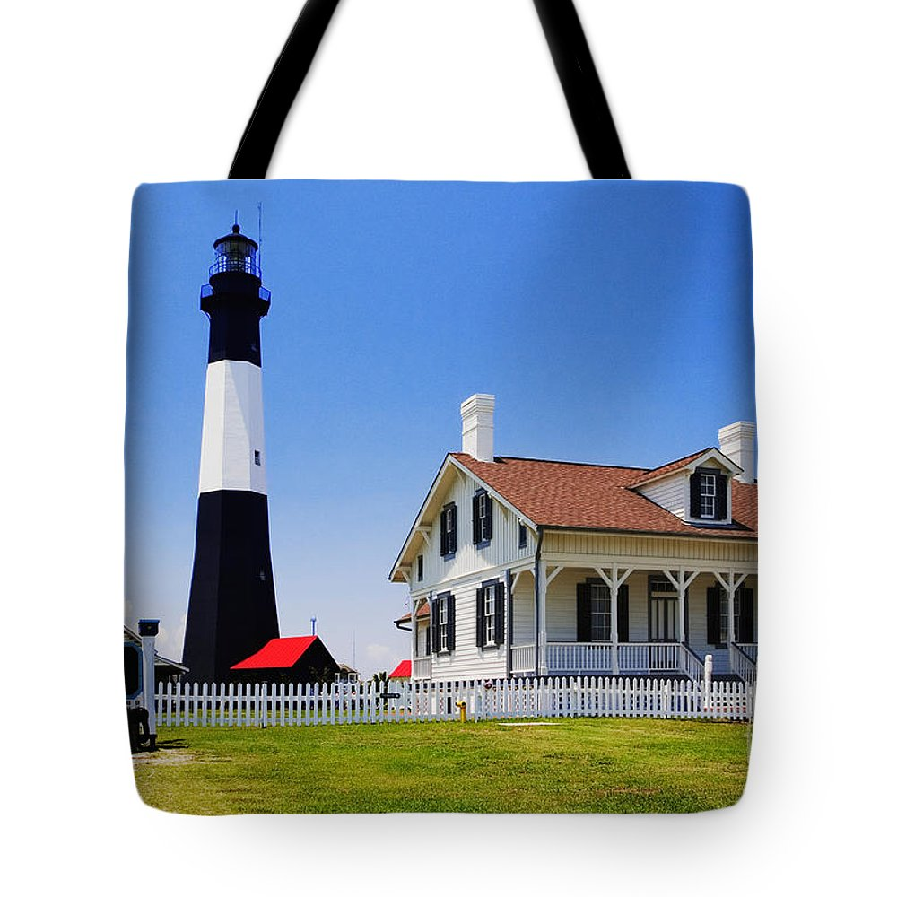 Lighthouse Tote Bag featuring the photograph Tybee Island Light by David Davis