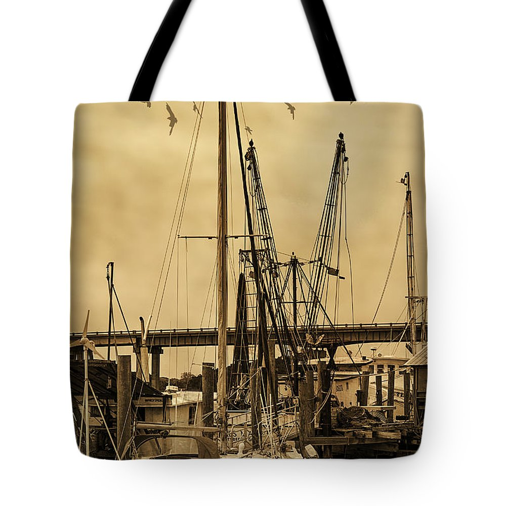 Shrimp Boats Tote Bag featuring the photograph Tybee Island Shrimp Boats by Priscilla Burgers
