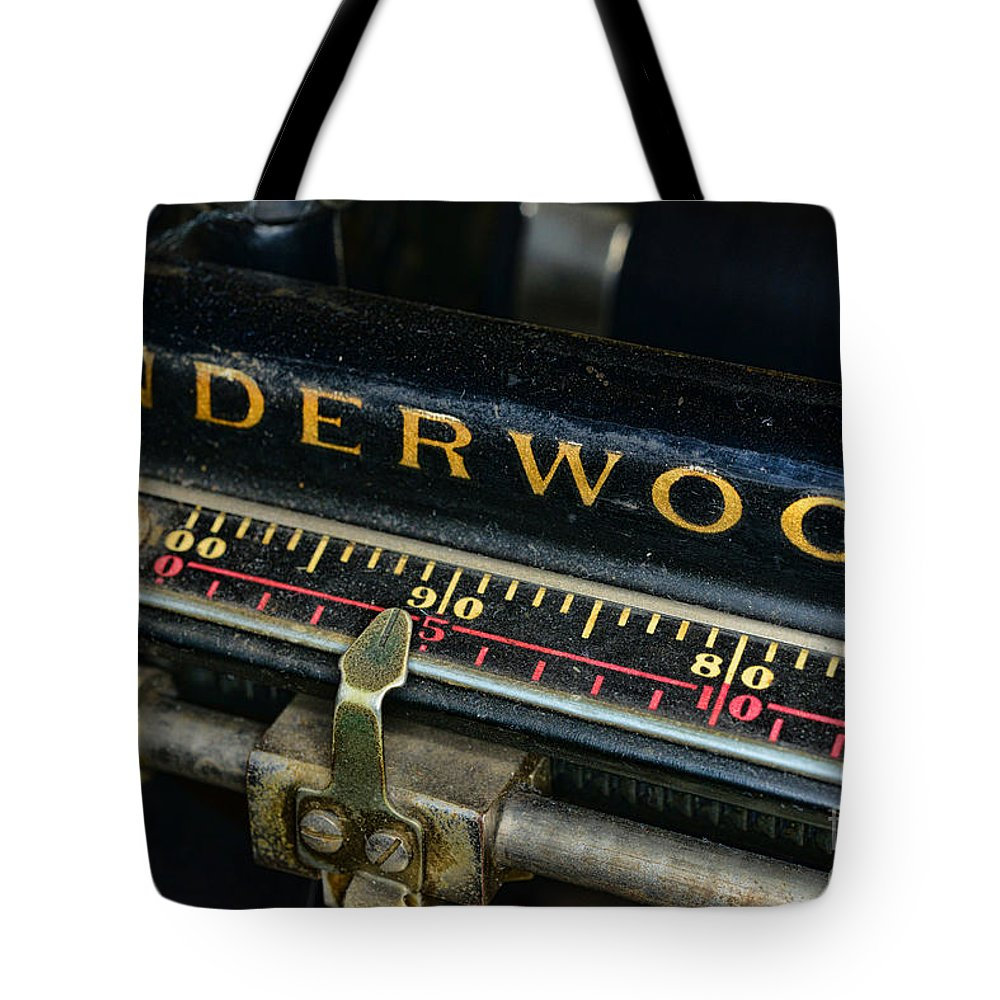 Paul Ward Tote Bag featuring the photograph Typewriter Paper Guide by Paul Ward