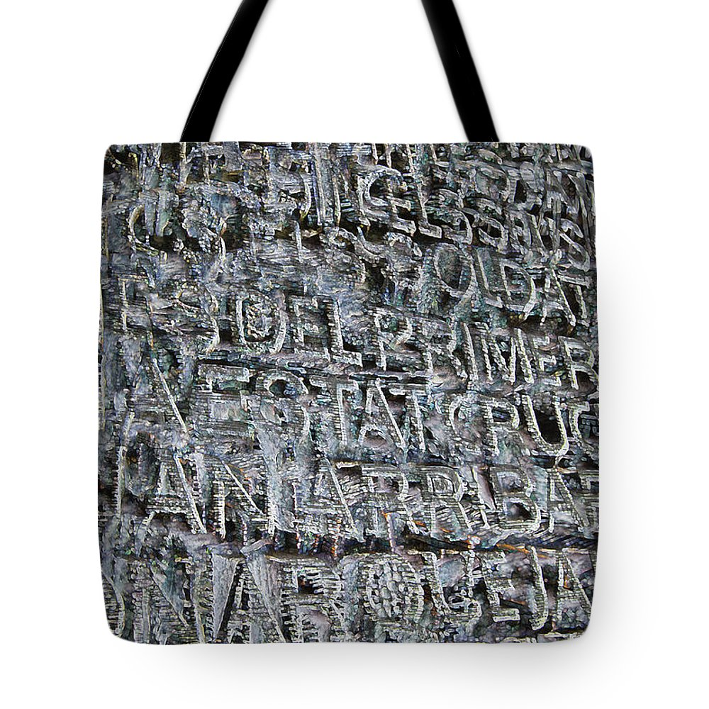 Text Tote Bag featuring the digital art Typo #1 by Chas Hauxby