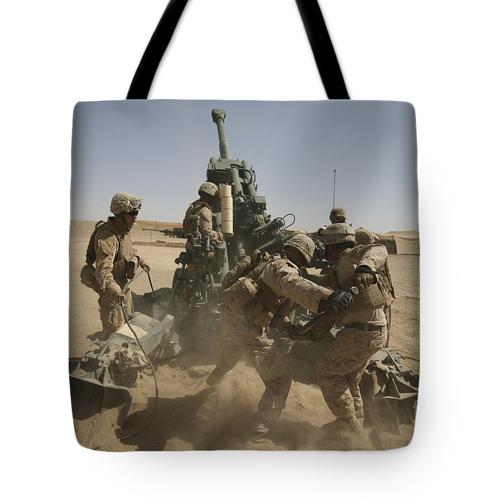 Middle East Tote Bag featuring the photograph U. S. Marines Ram A Satellite-guided by Stocktrek Images