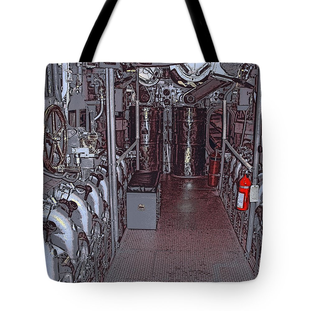 Engines Tote Bag featuring the photograph U S S Bowfin Submarine Engine Room by Daniel Hagerman
