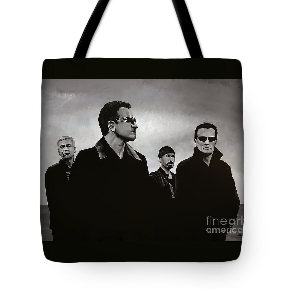U2 Tote Bag featuring the painting U2 by Paul Meijering