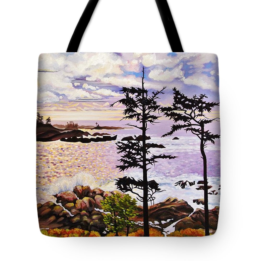Coastline Tote Bag featuring the painting Ucluelet In December by Elissa Anthony
