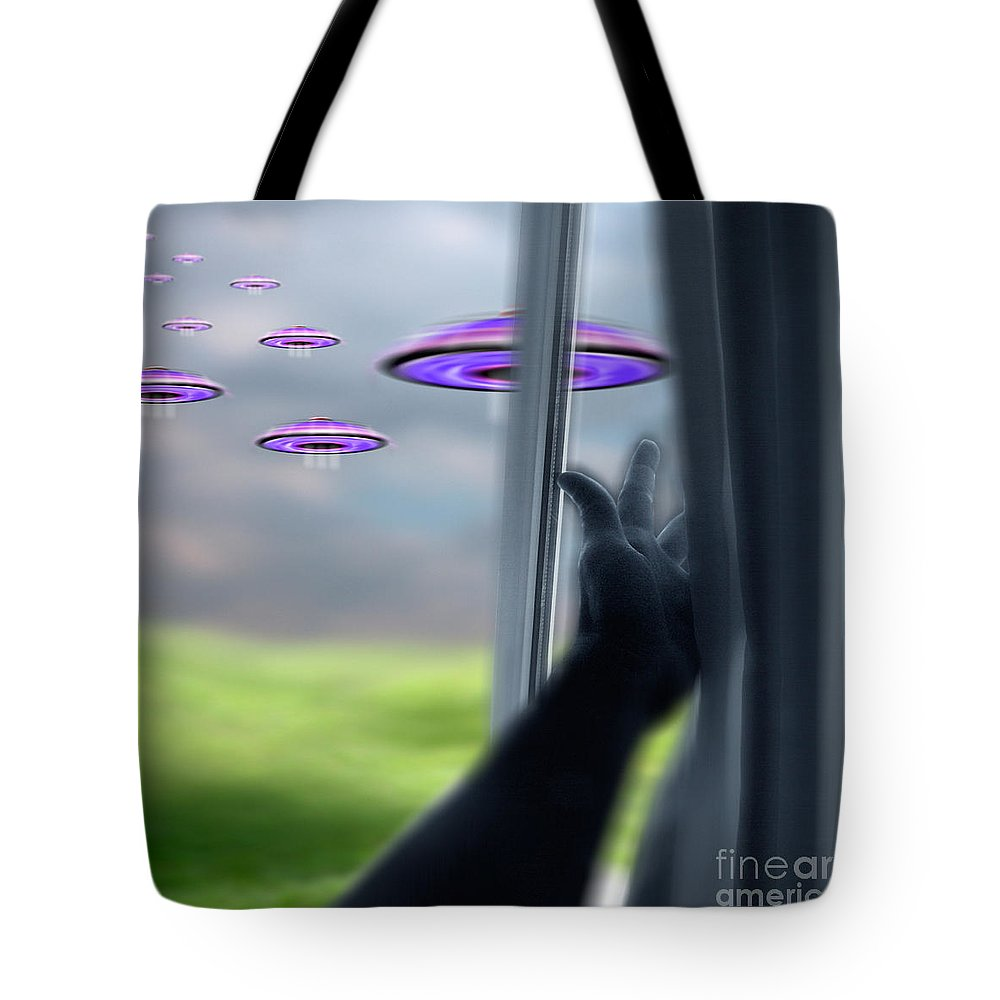 Alien Tote Bag featuring the photograph Ufos by Novastock