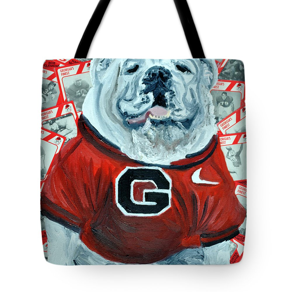 Georgia Tote Bag featuring the painting Uga Bulldog II by Michael Lee