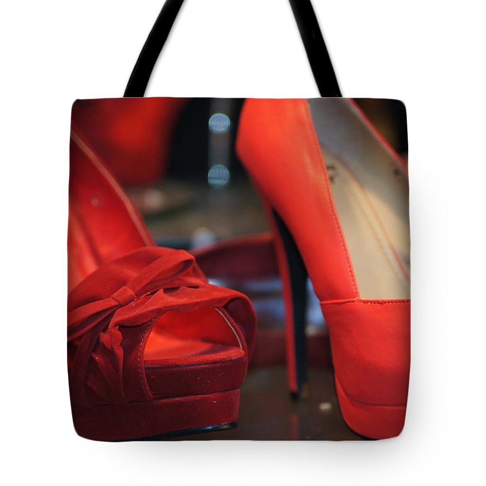 Red Shoes Tote Bag featuring the photograph Ugh Oh by Ira Shander