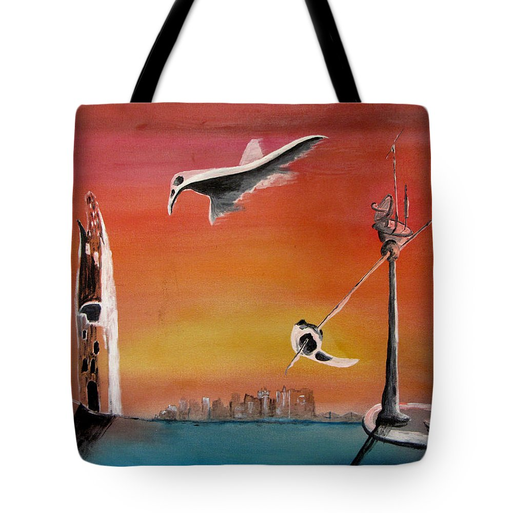 Uglydream Tote Bag featuring the painting Uglydream911 by Helmut Rottler