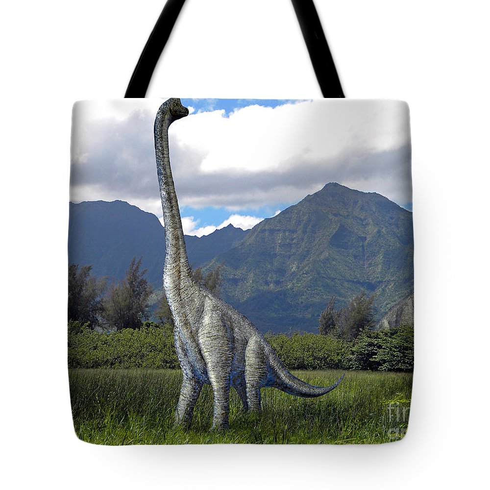 Dinosaur Art Tote Bag featuring the mixed media Ultrasaurus In Meadow by Frank Wilson