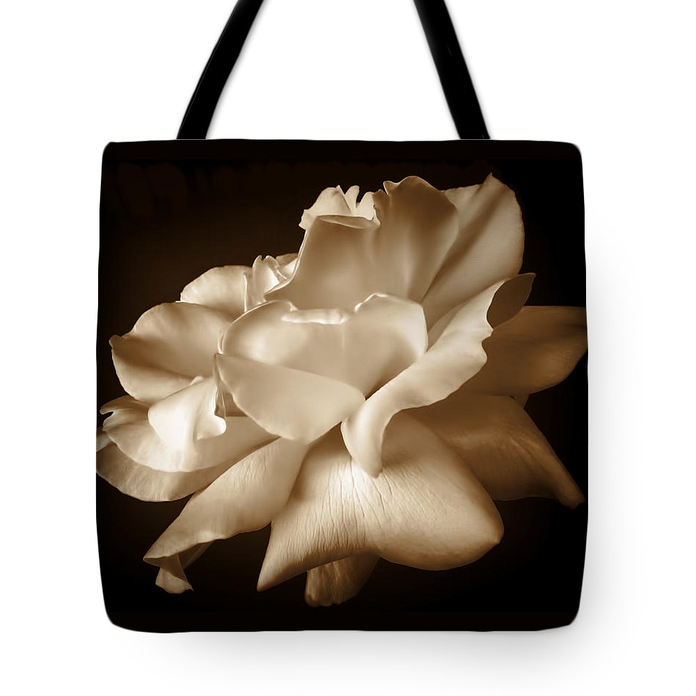 Rose Tote Bag featuring the photograph Umber Rose Floral Petals by Jennie Marie Schell