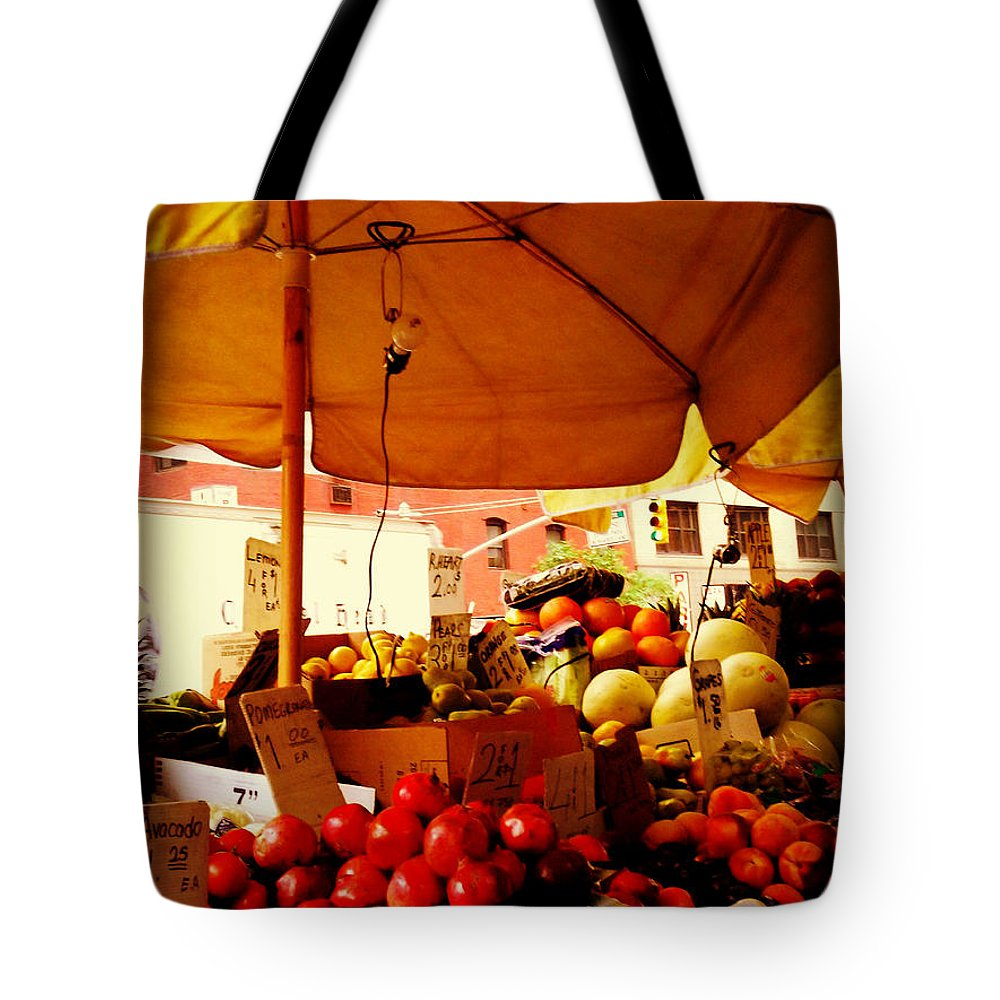 Fruitstand Tote Bag featuring the photograph Umbrella Fruitstand - Autumn Bounty by Miriam Danar