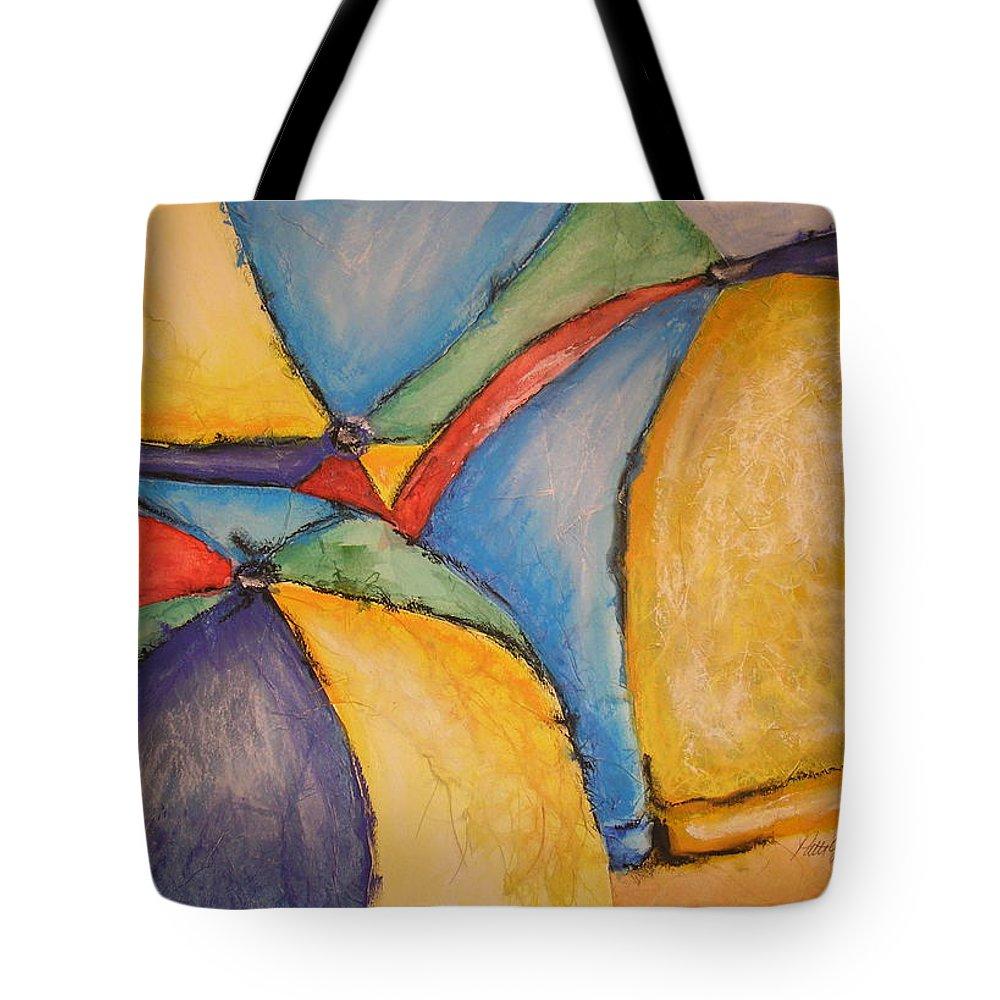 Beach Umbrellas Tote Bag featuring the mixed media Umbrella I by Patti Gillespie