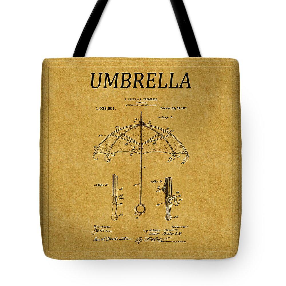 Umbrella Tote Bag featuring the photograph Umbrella Patent 1 by Andrew Fare