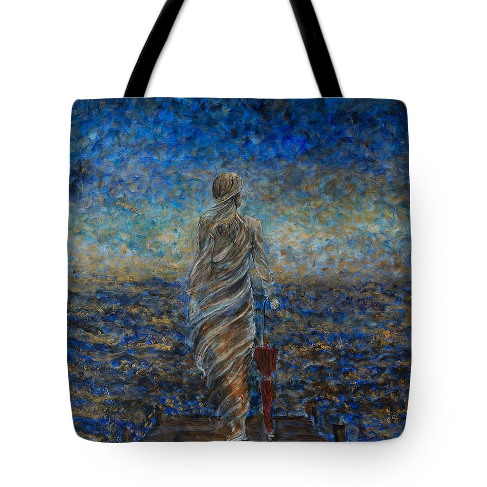 Seascape Tote Bag featuring the painting Un Sospiro by Nik Helbig