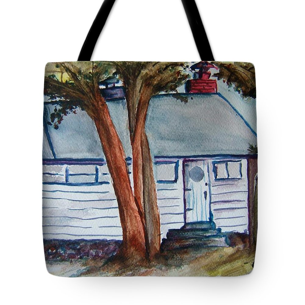 Lake Geneva Tote Bag featuring the painting Uncle Bills Cottage by Elaine Duras