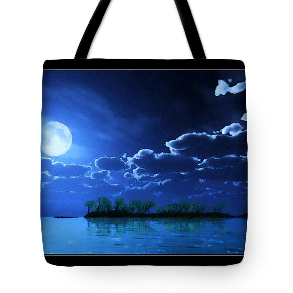 Landscape Tote Bag featuring the digital art Under A Silvery Moon...artistic Effect by Tim Fillingim