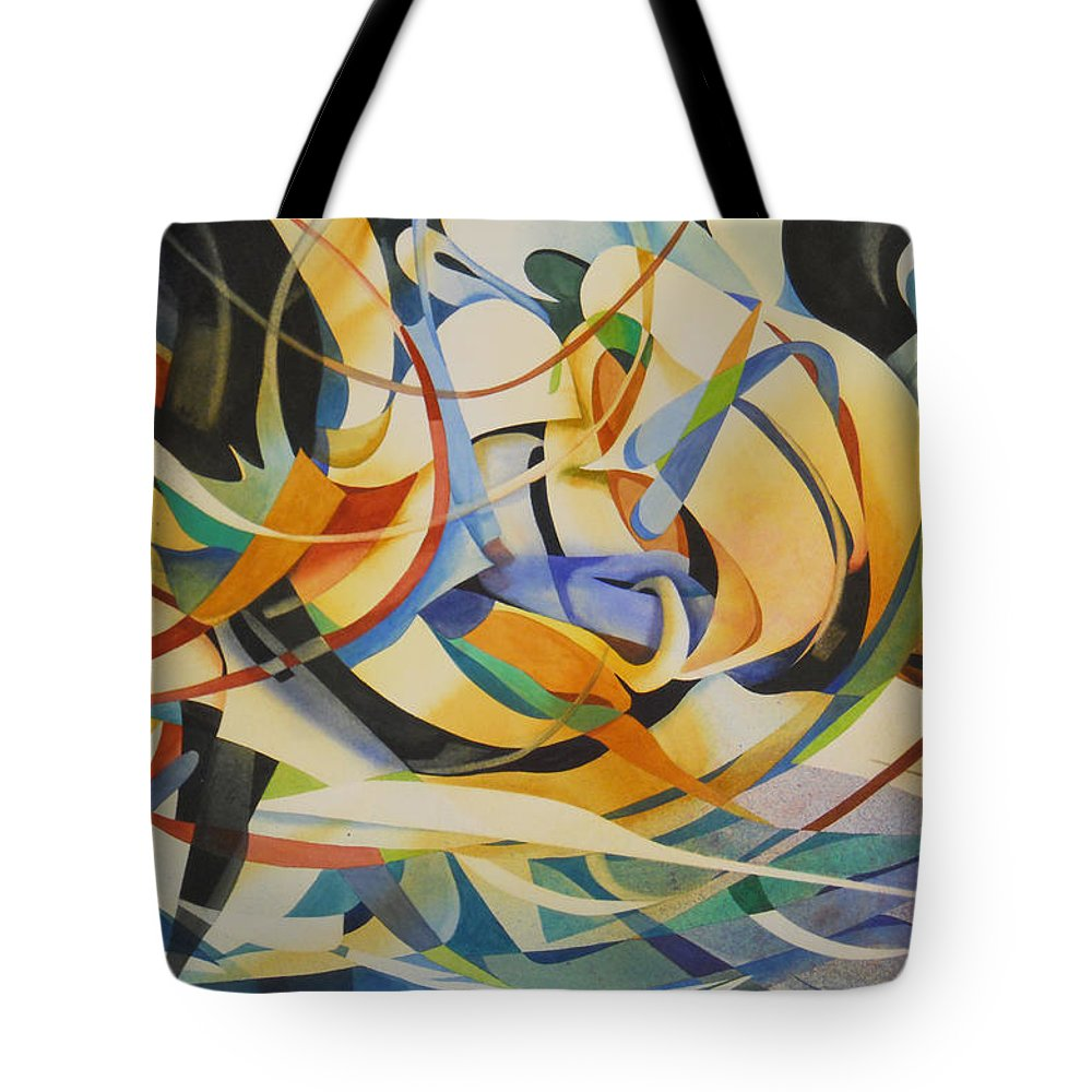 Abstraction Tote Bag featuring the painting Under Current by Joye Moon