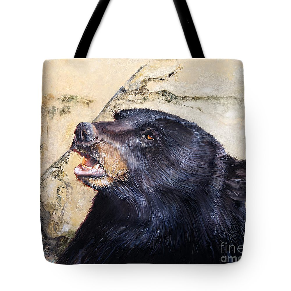 Black Bear Tote Bag featuring the painting Under The All Sky by J W Baker